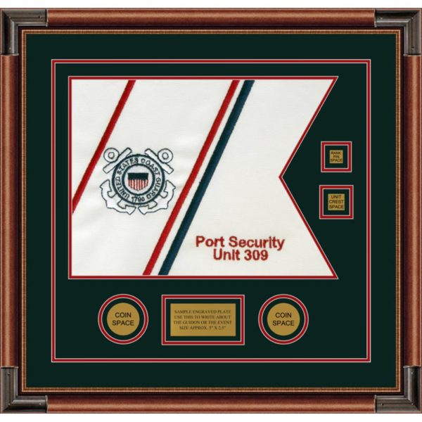 "Coast Guard 20"" x 15"" Guidon Design 2015-D3-M4 Framed"