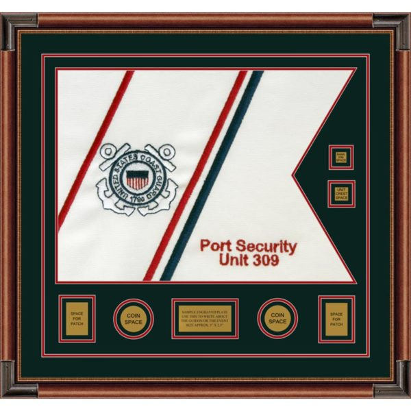 """Coast Guard 28"""" x 20"""" Guidon Design 2820-D3-M4 Framed"""