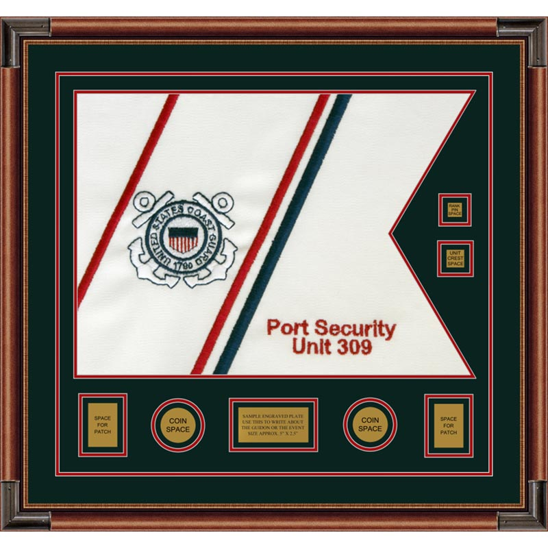 "Coast Guard 28"" x 20"" Guidon Design 2820-D3-M4 Framed"