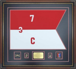 Embroidered Cavalry Guidon Custom Framed With Nameplate, Rank, And Unit Crest
