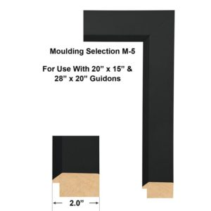 "Moulding Selection M-5 is suitable for framing 20"" x 15"" and 28"" X 20"" guidons. This moulding profile is 2"" wide. The M-5 profile is a favorite among military and retired military customers. The M-5 profile is well suited for smaller framed guidons placed in a shadowbox with a few items"