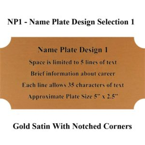 Name Plate Selection Design NP1 - Gold Satin With Notched Corners