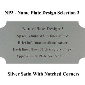 Name Plate Selection Design NP3 - Silver Satin With Notched Corners