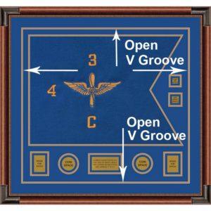 "Framed Aviation 28"" x 20"" Guidon Design With Open V-Groove"