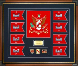 Example of Battalion Colors framed with Unit Guidons, Coins, and Nameplate