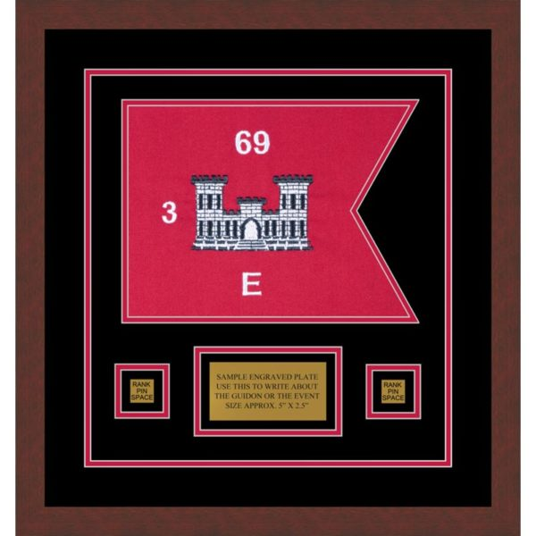 "Engineer Corps 12"" x 9"" Guidon Design 129-D1-M3 Framed"