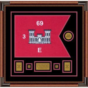 "Engineer Corps 20"" x 15"" Guidon Design 2015-D1-M4 Framed"
