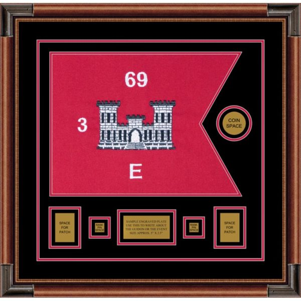 "Engineer Corps 20"" x 15"" Guidon Design 2015-D1-M4 Framed"