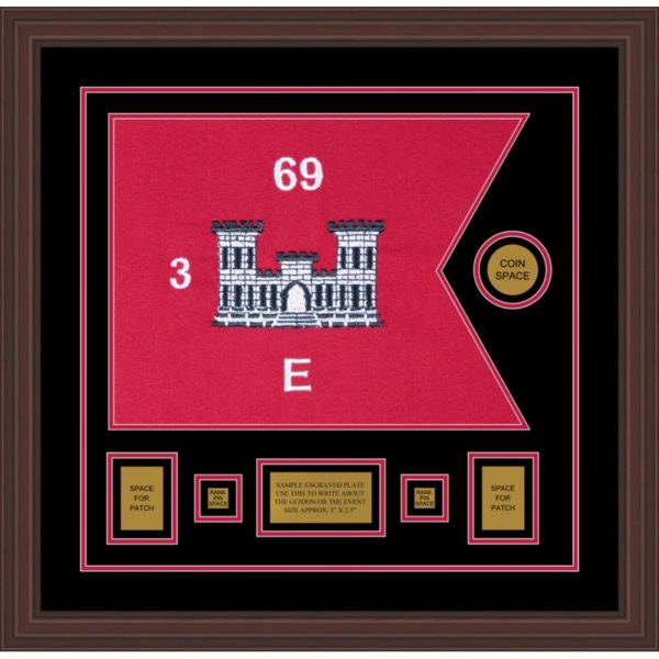 "Engineer Corps 20"" x 15"" Guidon Design 2015-D1-M6 Framed"