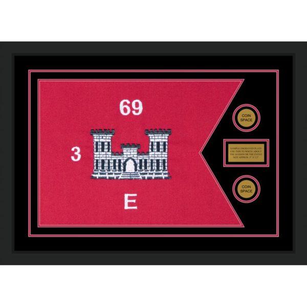 "Engineer Corps 28"" x 20"" Guidon Design 2820-D1-M5 Framed"