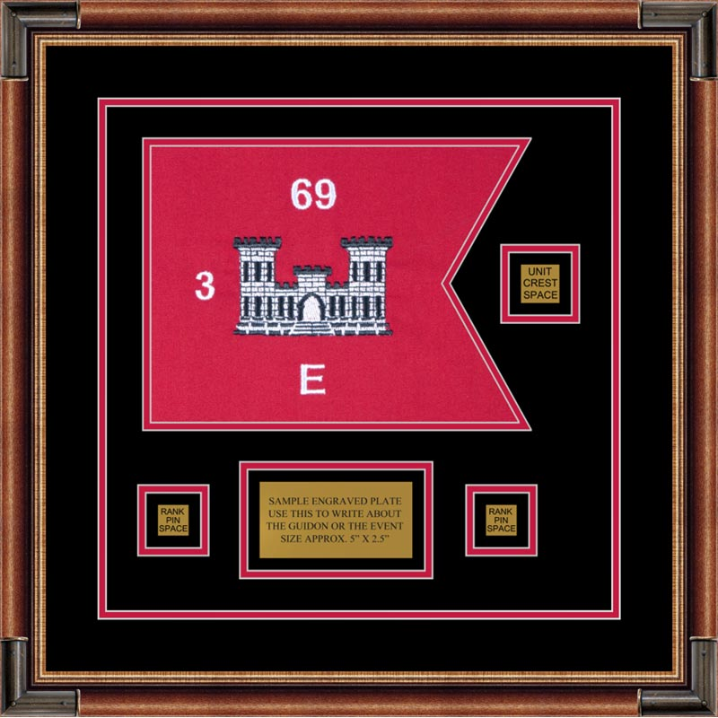"Engineer Corps 12"" x 9"" Guidon Design 129-D2 Framed"