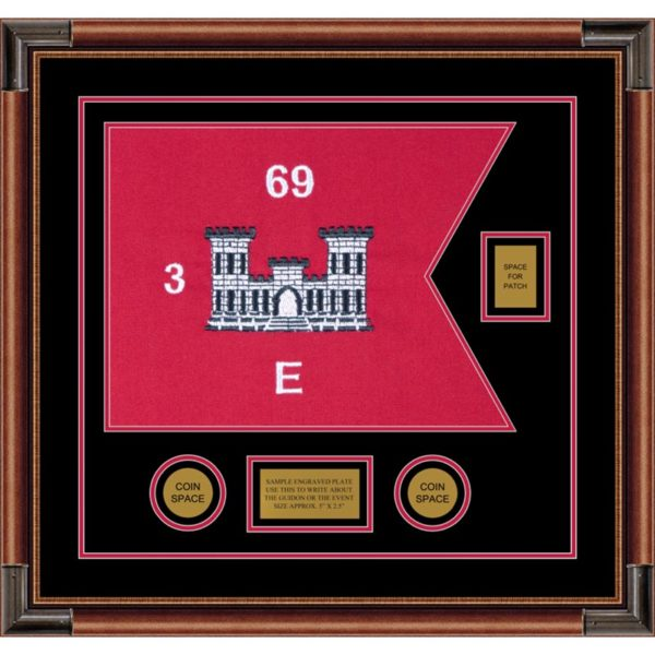 "Engineer Corps 20"" x 15"" Guidon Design 2015-D2-M4 Framed"