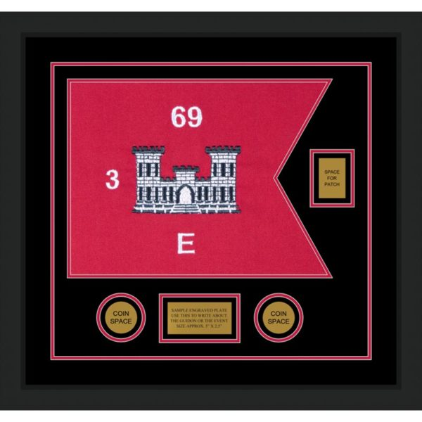 "Engineer Corps 20"" x 15"" Guidon Design 2015-D2-M5 Framed"