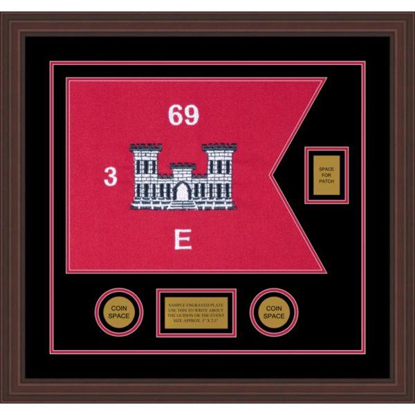 "Engineer Corps 20"" x 15"" Guidon Design 2015-D2-M6 Framed"