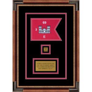 "Engineer Corps 7"" x 5"" Guidon Design 75-D2-M1 Framed"