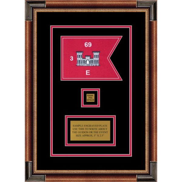 "Engineer Corps 7"" x 5"" Guidon Design 75-D2-M1 Framed"