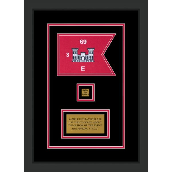 "Framed Engineer Guidon 7"" x 5"" Guidon Design 75-D2-M2 Framed"