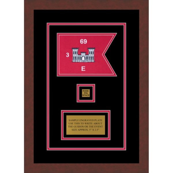 "Framed Engineer Guidon 7"" x 5"" Guidon Design 75-D2-M3 Framed"
