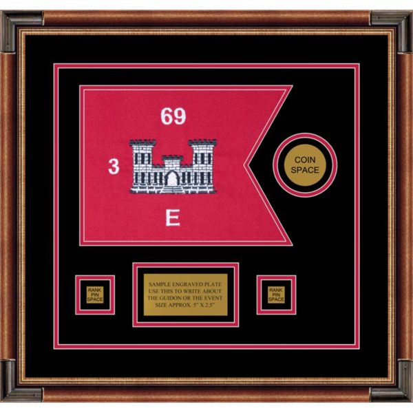 "Engineer Corps 12"" x 9"" Guidon Design 129-D3-M1 Framed"