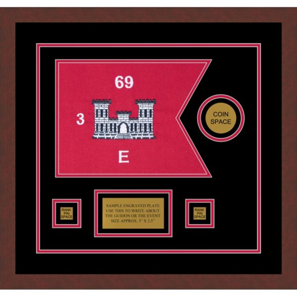 "Engineer Corps 12"" x 9"" Guidon Design 129-D3-M3 Framed"