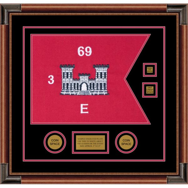 "Engineer Corps 20"" x 15"" Guidon Design 2015-D3-M4 Framed"