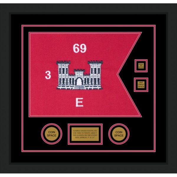 "Engineer Corps 20"" x 15"" Guidon Design 2015-D3-M5 Framed"