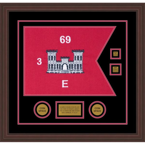 "Engineer Corps 20"" x 15"" Guidon Design 2015-D3-M6 Framed"