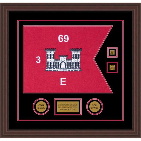 "Engineer Corps 20"" x 15"" Guidon Design 2015-D3-M6 Framed"