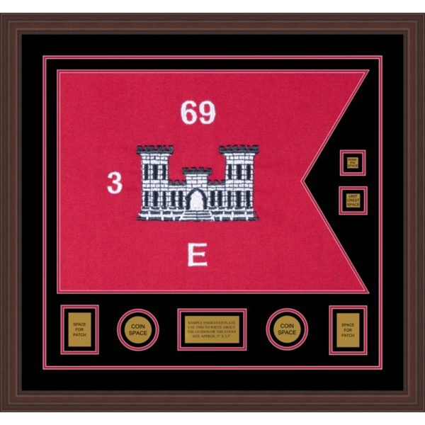 "Engineer Corps 28"" x 20"" Guidon Design 2820-D3-M6 Framed"