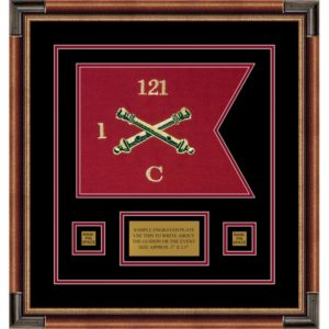 "Field Artillery 12"" x 9"" Guidon Design 129-D1-M1 Framed"