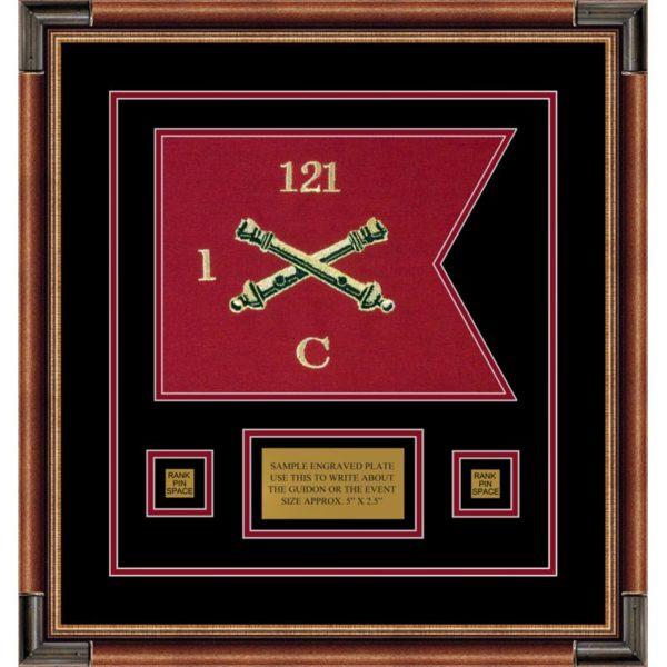 """Field Artillery 12"""" x 9"""" Guidon Design 129-D1-M1 Framed"""