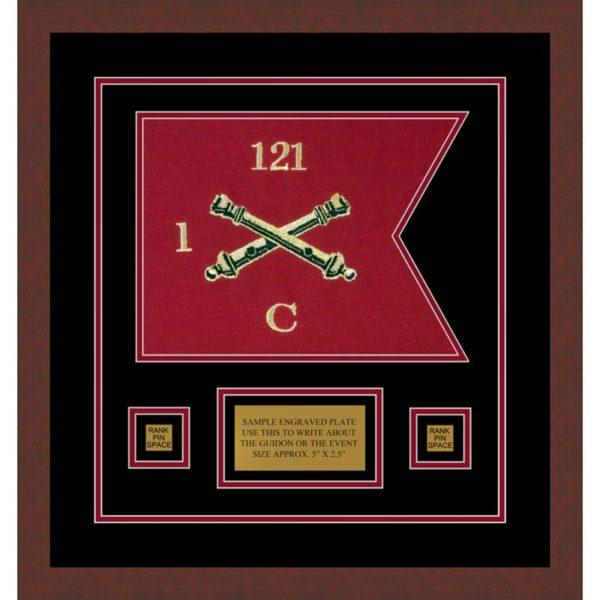 """Field Artillery 12"""" x 9"""" Guidon Design 129-D1-M3 Framed"""