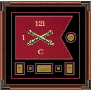 "Field Artillery 20"" x 15"" Guidon Design 2015-D1-M4 Framed"