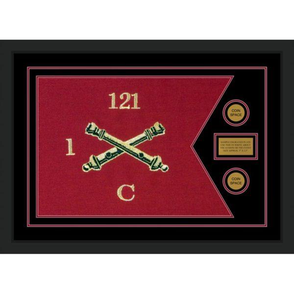 """Field Artillery 28"""" x 20"""" Guidon Design 2820-D1-M5 Framed"""