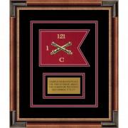 """Field Artillery 7"""" x 5"""" Guidon Design 75-D1-M1 Framed"""