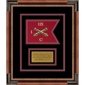 "Field Artillery 7"" x 5"" Guidon Design 75-D1-M1 Framed"