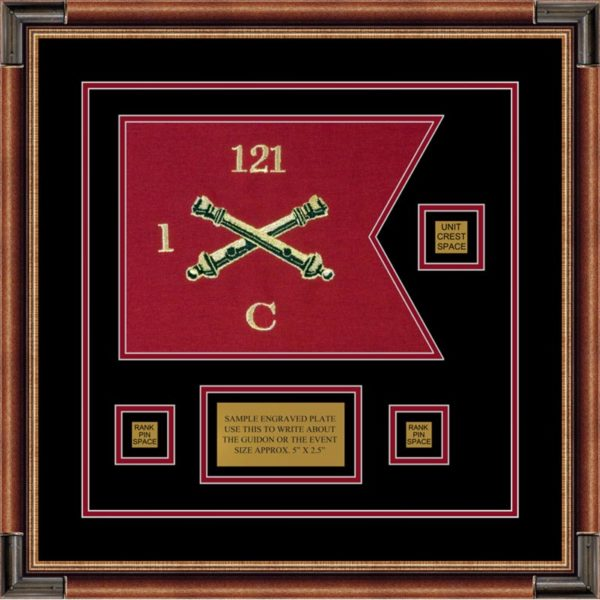 "Field Artillery 12"" x 9"" Guidon Design 129-D2-M1 Framed"