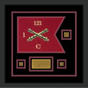 "Field Artillery 12"" x 9"" Guidon Design 129-D2-M2 Framed"