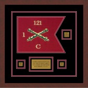 "Field Artillery 12"" x 9"" Guidon Design 129-D2-M3 Framed"