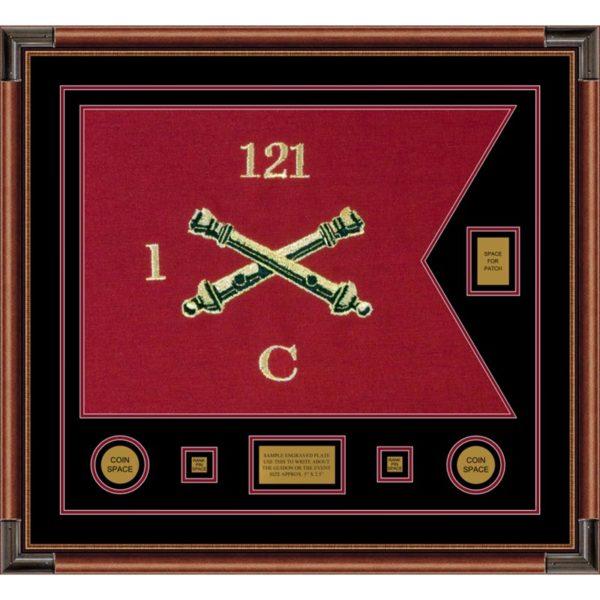 """Field Artillery 28"""" x 20"""" Guidon Design 2820-D2-M4 Framed"""