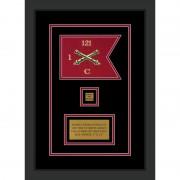 """Field Artillery 7"""" x 5"""" Guidon Design 75-D2-M2 Framed"""