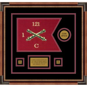 "Field Artillery 12"" x 9"" Guidon Design 129-D3-M1 Framed"