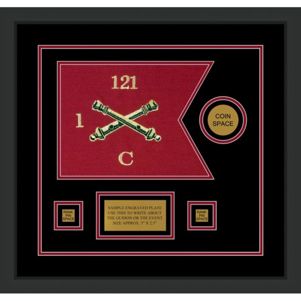"Field Artillery 12"" x 9"" Guidon Design 129-D3-M2 Framed"