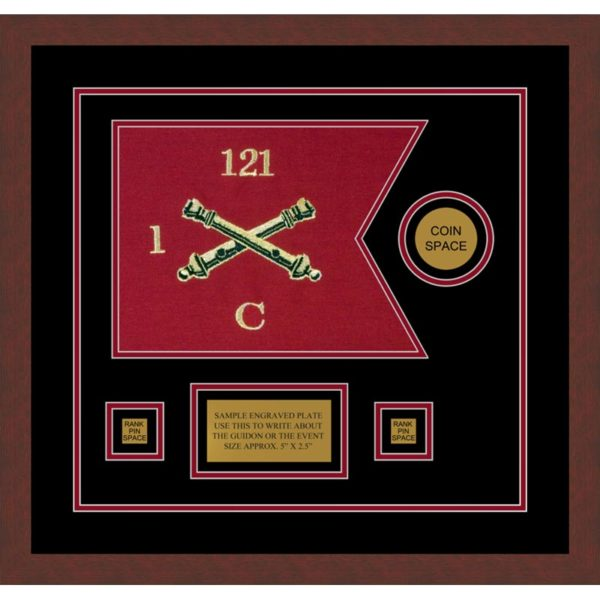 "Field Artillery 12"" x 9"" Guidon Design 129-D3-M3 Framed"