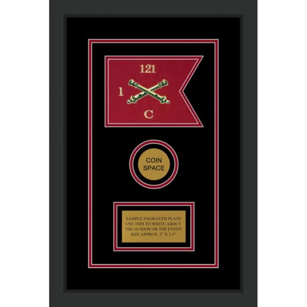 "Field Artillery 7"" x 5"" Guidon Design 75-D3-M2 Framed"