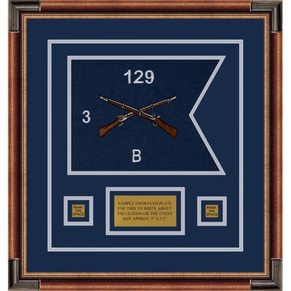 """Infantry Version 2 12"""" x 9"""" Guidon Design 129-D1-M1 Framed"""