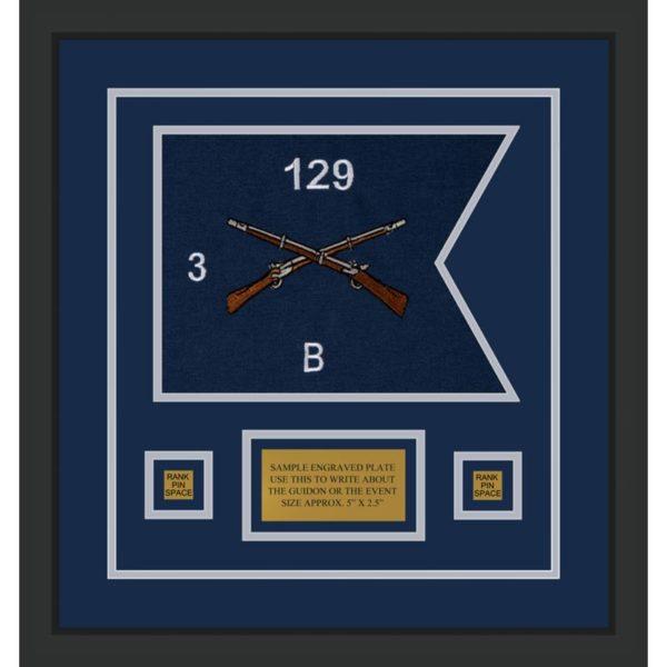 """Infantry Version 2 12"""" x 9"""" Guidon Design 129-D1-M2 Framed"""