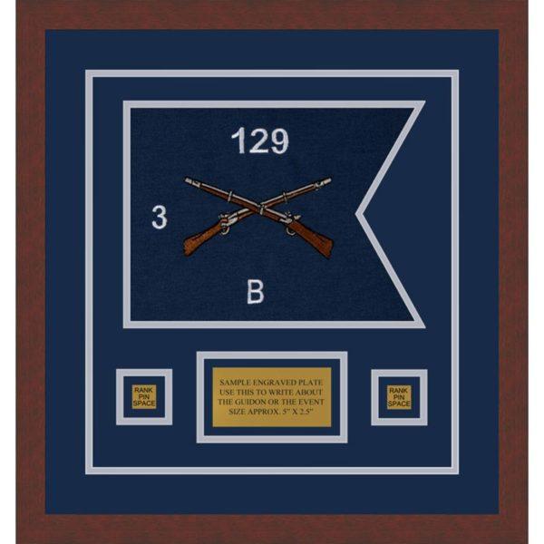 """Infantry Version 2 12"""" x 9"""" Guidon Design 129-D1-M3 Framed"""