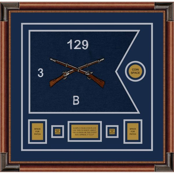 "Infantry Version 2 20"" x 15"" Guidon Design 2015-D1-M4 Framed"