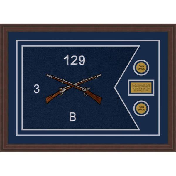 """Infantry Version 2 28"""" x 20"""" Guidon Design 2820-D1-M6 Framed"""